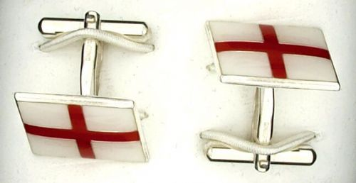 England Cufflinks Solid Sterling Silver St George's Flag Handmade